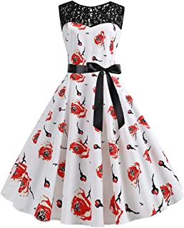 on Sale St. Patrick's Day Women Vintage 1950s Retro Shamrock Sleeveless Prom Swing Dress