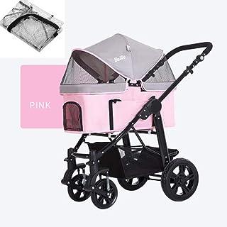 Pet Travel Stroller, Dog Cat Pushchair Portable Pet Stroller Pet Four-Wheeled Stroller Pushchair Jogger Buggy Pet Supplies...