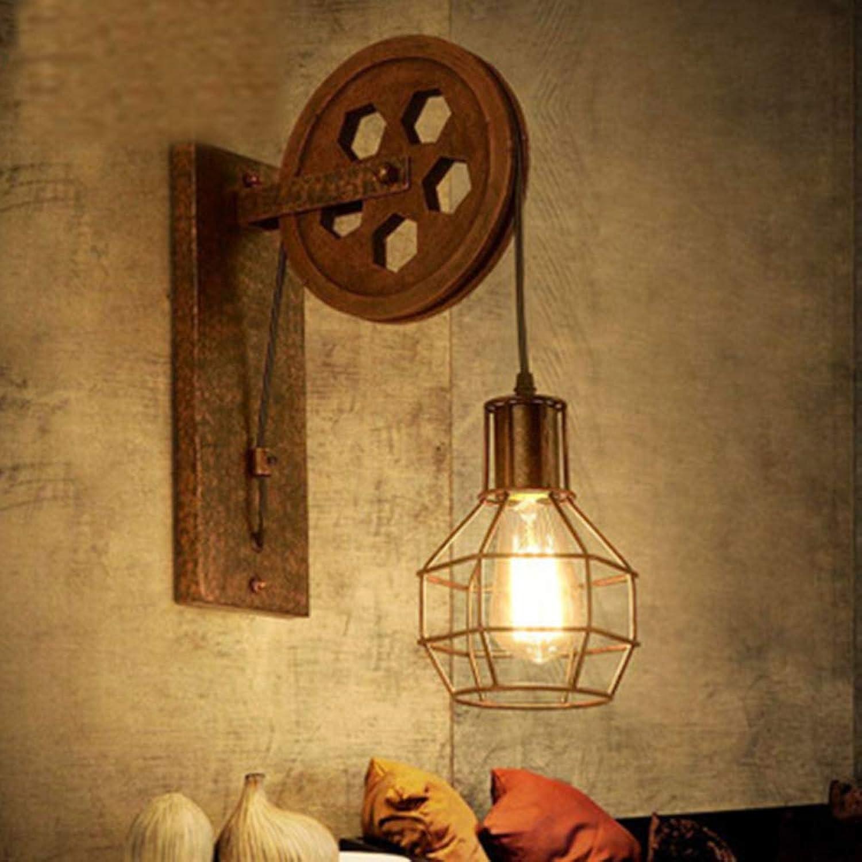 F LOFT Wandleuchte Industrial Style Retro Wandleuchte Schmiedeeisen Flaschenzug Nachtlicht Restaurant Bar Dekorative Lampe