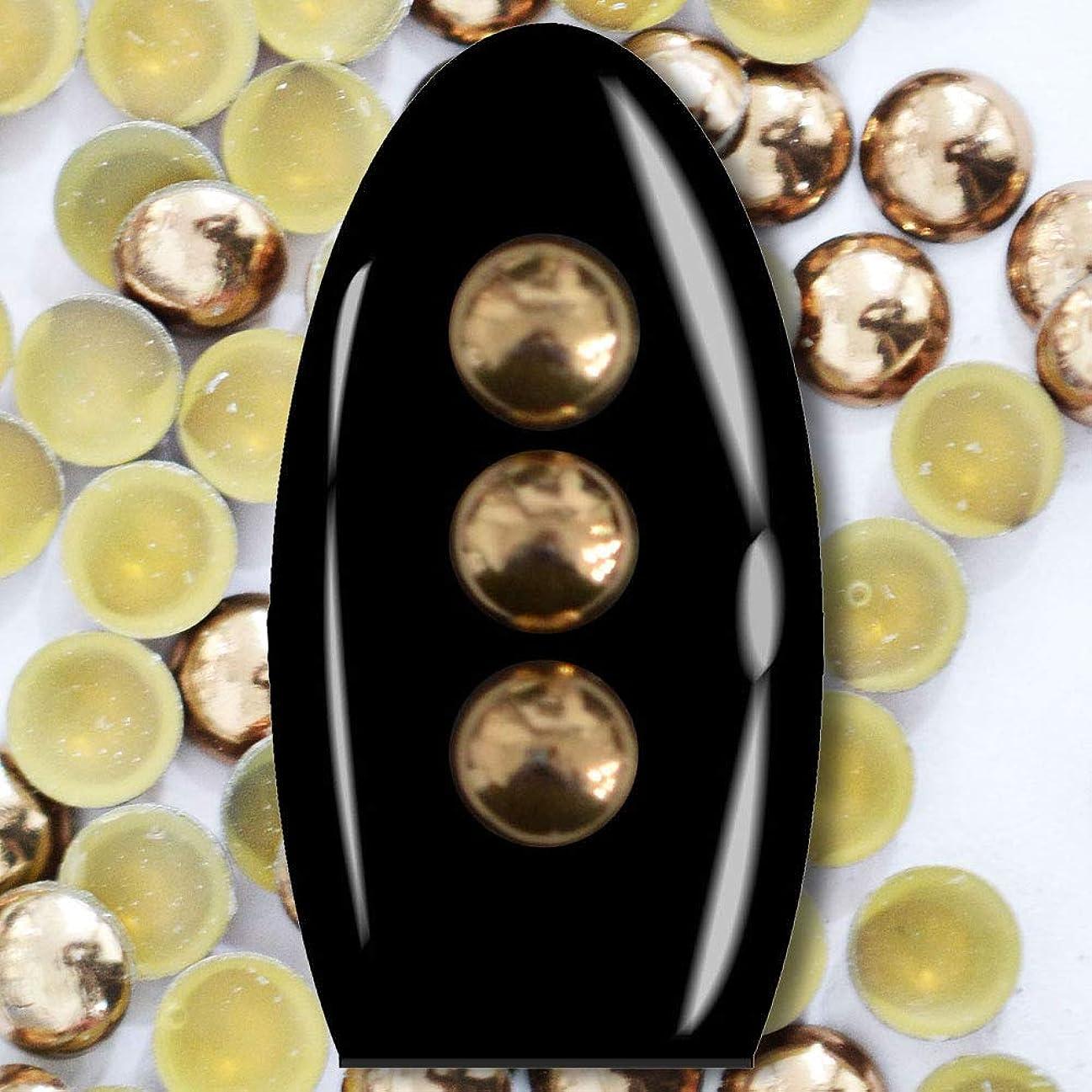 郵便屋さんアンテナ契約メタルスタッズ ネイル用 100粒 STZ027 ラウンド ブロンズド Φ3.5mm ぷっくり半球型