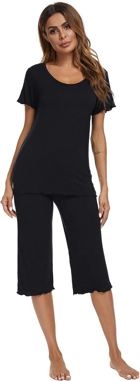TIKTIK Womens Bamboo Pajama Set Comfy Sleepwear Top with Capri Pants Pjs Petite Plus Size S-4XL, Black, Small