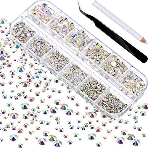 2000 Pièces Gems à Dos Plat Rond Cristal Strass 6 Tailles (1.5 - 6 mm) avec Pick Up Tweezer et Stylo de Cueillette de Strass pour Crafts Nail Face Art Vêtements Chaussures Sacs DIY (Crystal AB)