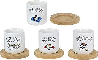 Le Fabuleux Shaman 38-2X-001 Tasses à café et leurs sous-tasses Café allongé frappé gourmand serré Set de 4 assorties Porc...