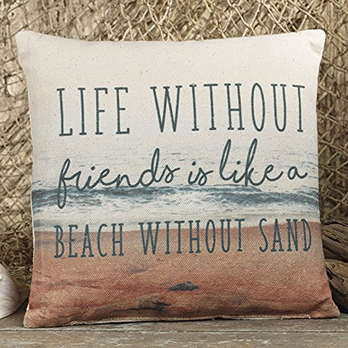 The Country House Collection Life Friends Beach Sand 8 x 8 Canvas Decorative Throw Pillow
