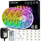 Tiras LED 15M, SHOPLED Luces LED RGB 5050 con Control Remoto de 44 Botones, 150 Tira LED 20 Colores 8 Modos de Brillo y 6 opciones DIY para la Habitación, Dormitorio, Techo