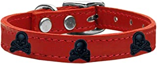 Mirage Pet Products 83-116 Rd20 Skull Widget Genuine Leather Dog Collar, Size 20, Red
