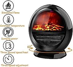 GJQGYY Calefactor Electrico Bajo Consumo Silencioso,Chimenea Electrica Led con Calentador Rápido De Cerámica para Baño Oficina Dormitorioblack