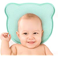 PB PEGGYBUY Baby Head Shaping Pillow with Soft Memory Foam Cushion, Removable Pillowcase (Green)