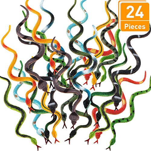 Blulu 24 Pieces Plastic Snakes 4 Inch Rain Forest Snakes Realistic Rubber Snake Assorted Colorful Fake Snake Toys for Boys and Girls, Party Favors Decoration, Gag toys, Prank and Prop (24 Pieces)