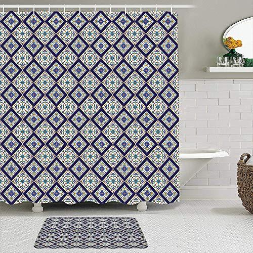 FOURFOOL Cortinas con Ganchos,Estampado de diseño étnico de Azulejo geométrico,Decoraciones de Cortinas de Ducha Alfombra de Baño Moderno