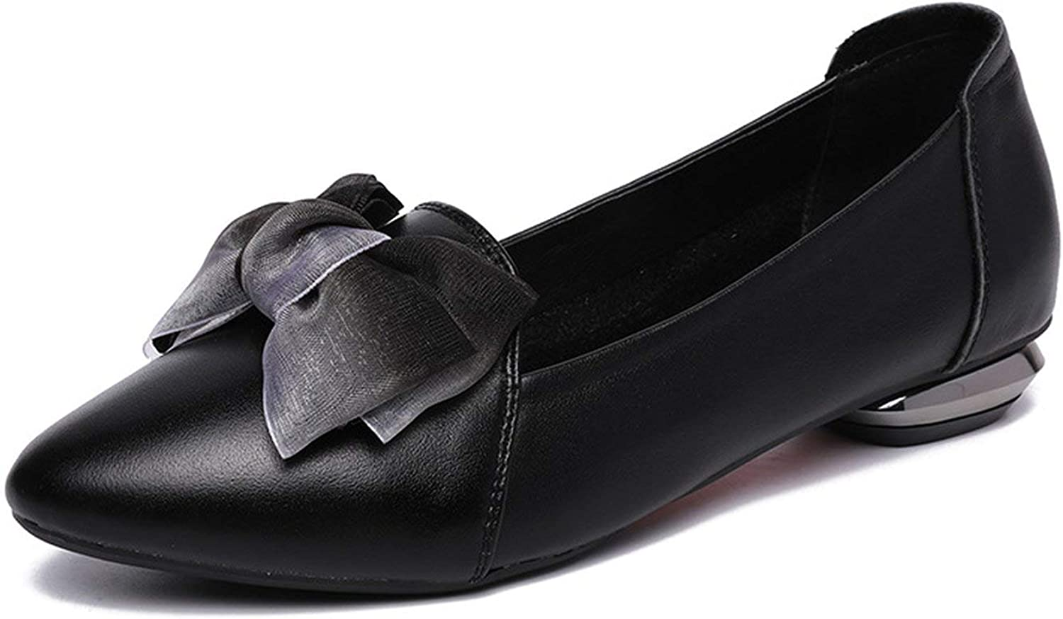 Flats Woman Bow Tie Pointed Toe Shallow Women shoes Genuine Leather Comfortable shoes