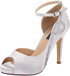 ERIJUNOR Women Peep Toe Side Open Rhinestones Comfortable Platform Satin Bridal Wedding Party Shoes