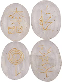 Aatm Healing Natural Crystal Cabochon with Reiki Symbols Pebble Pocket Stone for Chakra Healing Meditation (Set of Four - ...