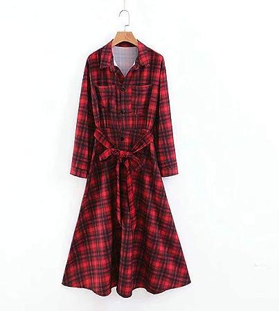 GDCAKMI Camisa de Vestir Larga a Cuadros Rojos para Mujer ...