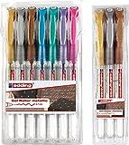 edding 2185 Gel-Roller (Metallic-Farben), 7+3-Stück, 0,7mm | 7er Sortierung + Metallic Grundfarben Extra