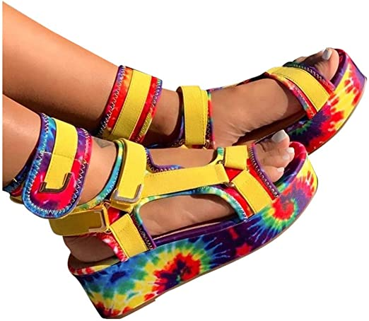 Simayixx Womens Platform Wedges Sandals Open Toe Ankle Strap Velcro Colorful Printed Flats Casual Beach Shoes