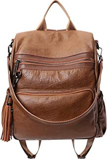 Xuan Yuan Backpack - Women's PU Soft Leather Backpack, Multi-Function Large-Capacity Backpack, Lightweight Casual Travel Shoulder-Back Dual-use Handbag Backpack (Color : Brown)