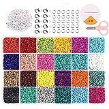 Cuentas de Colores 2mm Mini Cuentas y Abalorios Cristal para DIY Pulseras Collares Bisutería,Mini Regalo Cadena Cadena de Cuentas de Fabricación de Juego (24Colores)