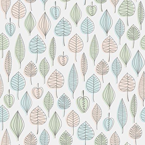 Reflections 5925 Vlies-Tapete 50er Retro-Motiv Blätter und Früchte in grau, hellblau, nude und hellgrün auf mattweiß