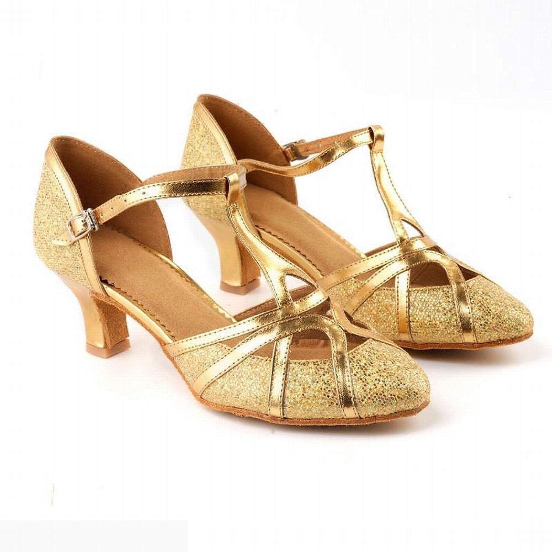 BYLE Leder Sandalen Samba Modern Jazz Tanzen Schuhe Gold Latin Tanzen Schuhe Erwachsene Frauen Hoher Absatz Sandalen Sommer Tanz an der Ferse.