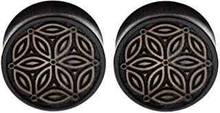 Pair Black Iron Wood Organic Hand Carved Ear Plugs Gauges 7/16 1/2 9/16 5/8 3/7 7/8 1 inch