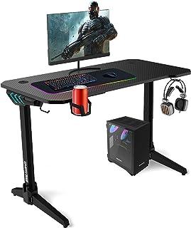 ESGAMING Gaming Desk met LED Lights, 44,5 Inch Computer Bureau T-Vormige met Bekerhouder, 2 Hoofdtelefoonhaken Stopcontact...