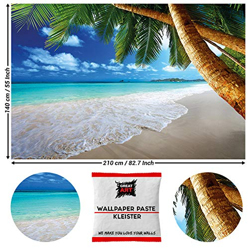 Great Art fotobehang palmen zee natuur strand Natuur 210 x 140 cm - 5 Teile + Kleister