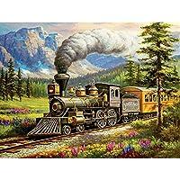 クロスステッチ 大人のためのクロスステッチキット 古い蒸気列車 40x50cm 11CT番号別刺繍キット手作りキットパンチ針刺繍DIY初心者向け手作りスターターキット