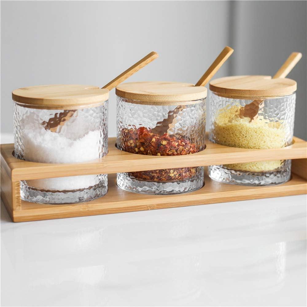 UXZDX Kitchen Seasoning Pot Ceramic New color At the price Glass Three-piece
