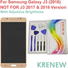 for SM-J320A J320AZ J320R4 J320P J320W8 J320ZN J320F Touch Screen Replacement Digitizer Glass LCD Display Assembly for Samsung Galaxy J3 (2016) (Gold + Adjustive Brightness)