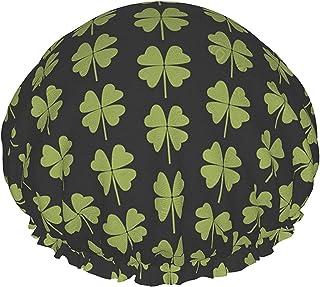 Zielona czterolistna koniczyna wodoodporna czepek prysznicowy z elastycznym obszyciem odwracalna konstrukcja do prysznica ...