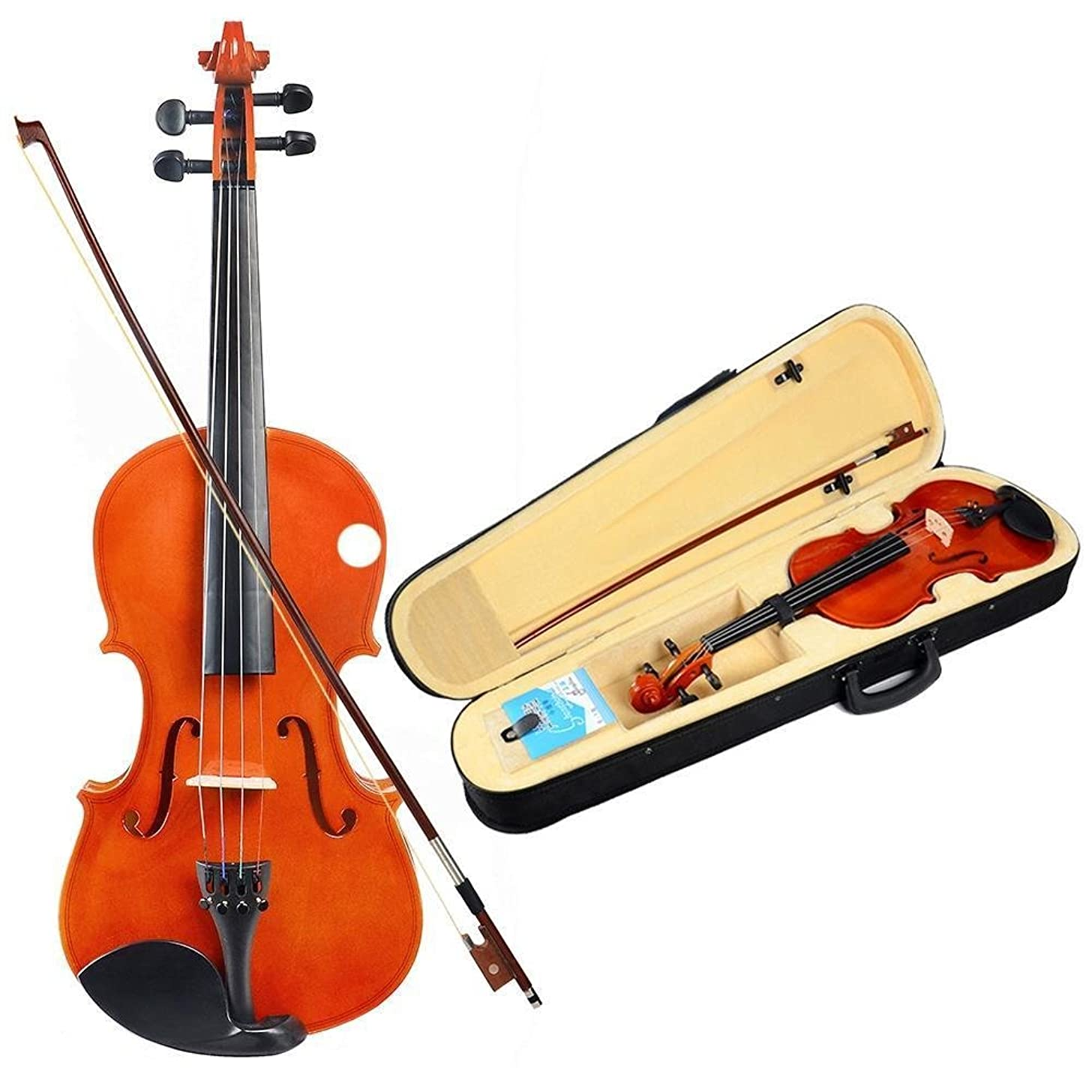 Full Size 4/4 Natural Acoustic Violin Fiddle with Case+Bow+Rosin+Bridge Etude Student Series Violin Back to School