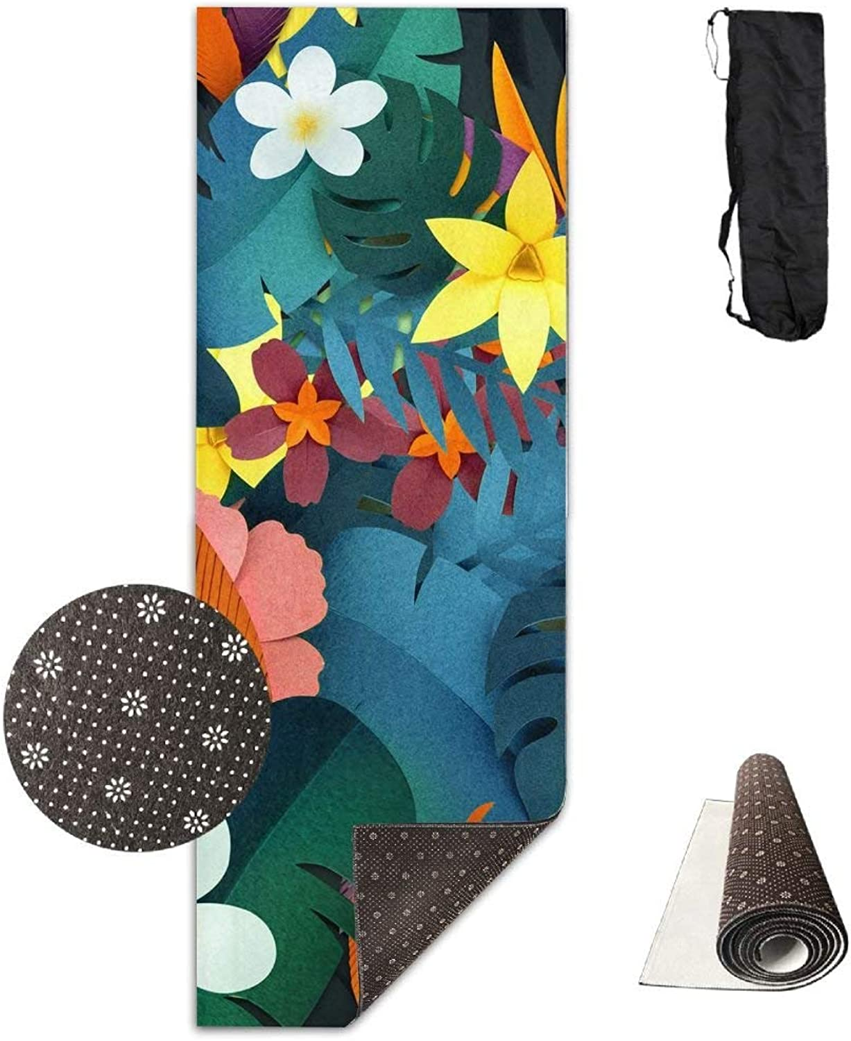 Brightly colord Flowers Yoga Mat 72X24 Inch Premium Print NonSlip EcoFriendly AntiTear Floor Pilates Exercise Mat for Yoga, Workout, Fitness with Carrying Strap