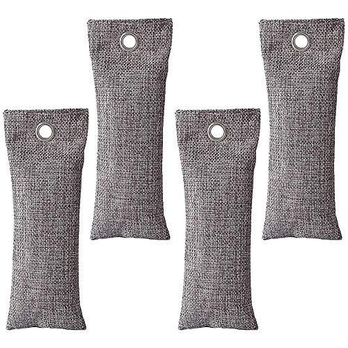 FLZONE Bolsa Desodorante para Zapatos,4 Pack Bambú Carbón Bolsas Bolsa de Ambientador para Nevera de Cocina,Hogar,Armario y Coches (75 g * 4)
