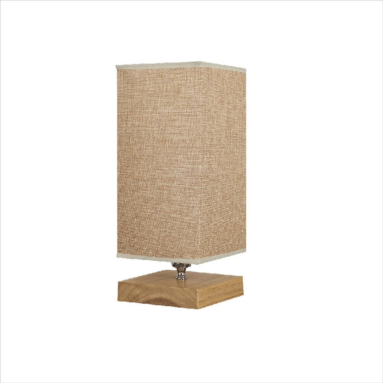 Im amerikanischen Stil Antikorrosion Eiche Kunst dekorative Tischlampe, postmoderne einfache Schlafzimmer Nachttisch Wohnzimmer E14 Leinen Lampe (Holz Farbe) HUACANG (Größe   C1)
