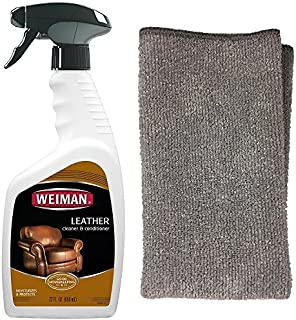 Weiman Leather Cleaner and Polish With Microfiber Cloth - Clean and Condition Car Seats, Shoes, Couches and More - 22 Flui...