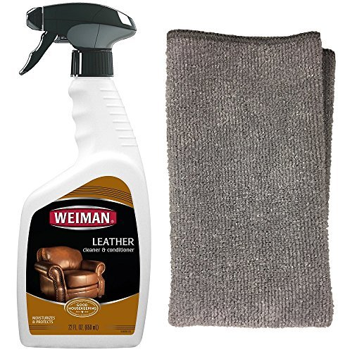 Weiman Leather Cleaner and Polish for Furniture & Car with Microfiber Cloth - Non Toxic Clean and Condition Car Seats, Shoes, Couches and More - 22 Fluid Ounces
