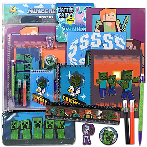 Minecraft School Supplies Value Pack ~ Minecraft Folders, Notebook, and Stickers for Kids Boy Girls (Minecraft School Supplies)