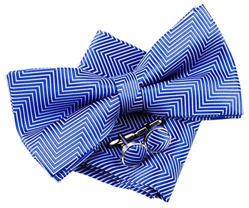 Retreez Herren Gewebte vorgebundene Fliege Fischgrätmuster Gestreifte 13 cm und Einstecktuch und Manschettenknöpfe im Set, Geschenkset, Weihnachtsgeschenke - königsblau