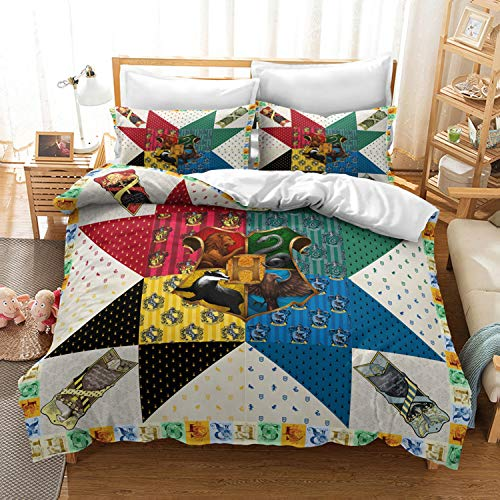 kxry Harry Potters Magic Academy Bedding Twin Size Colorful Lion Eagle Snake Badger Duvet Cover Set for Boys Girls Kids 1 Duvet Cover + 1 Pillow Sham