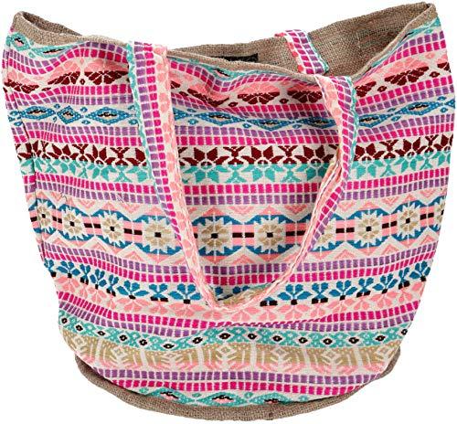 Guru-Shop Handgefertigte Boho Shopper Tragetasche, Strandtasche, Einkaufstasche - Pink, Herren/Damen, Rosa, Baumwolle, Size:One Size, 40x45x30 cm, Bunter Stoffbeutel