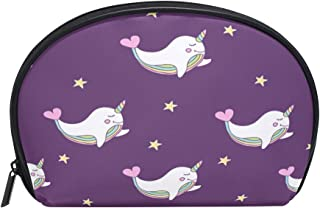 ALAZA Unicorn Whale Star Half Moon Cosmetic Makeup Toiletry Bag Pouch Travel Handy Purse Organizer Bag for Women Girls