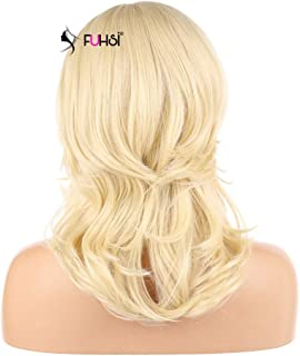 FUHSI, Lace Front Wigs for Women, 13X6 Lace, Kanekalon Futura Hair, Synthetic Wigs Short Bob Wave Layers Blond 613 color