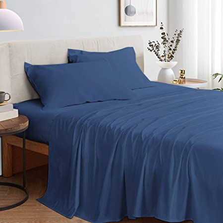 Zerohub 100% Bamboo Bed Sheets Set - Eco-Friendly, Deep Pockets Cooling Sheets - Super Soft, Breathable, Comfortable and Hypoallergenic - 4 pcs (Navy Blue, Full)