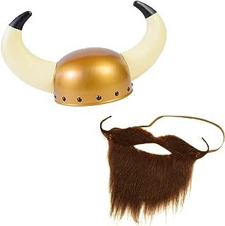 Viking Helmet with Beard - Vikings Hat - Viking Costumes - Viking Helmet with Horns - Viking Costume Accessories - 2 Pc - by Tigerdoe