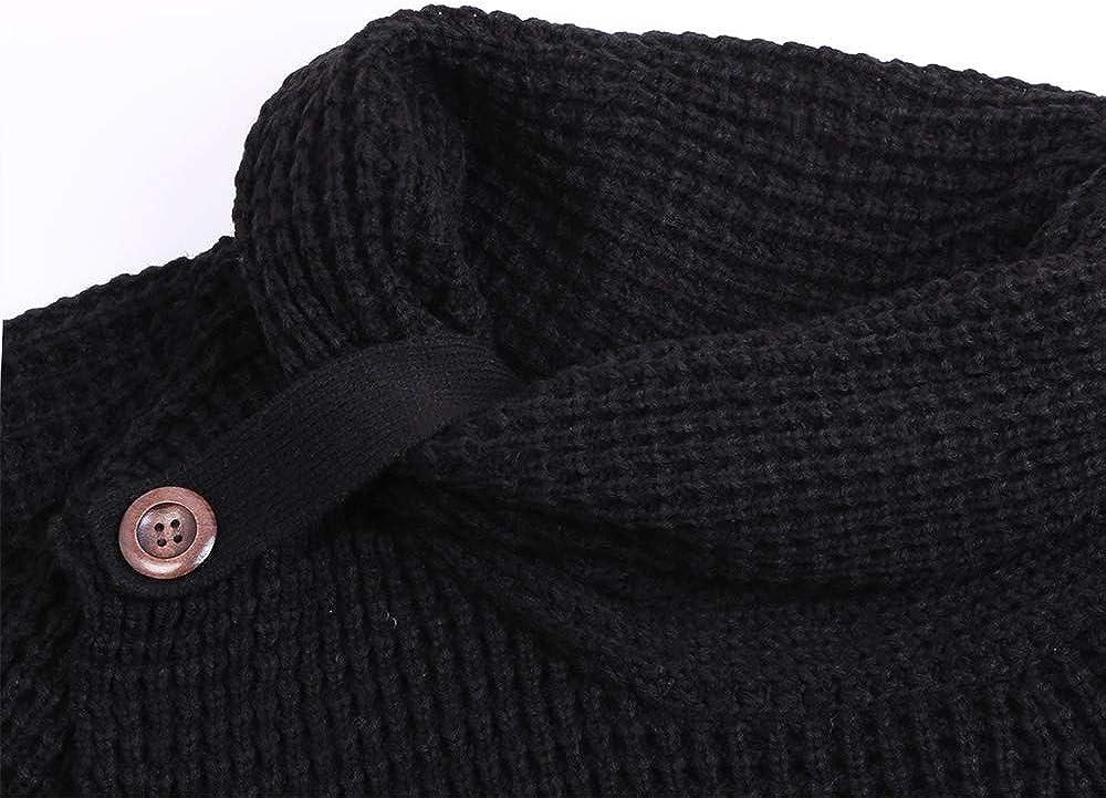 TEMOFON Women's Turtle Cowl Neck Sweater Long Sleeve Casual Button Asymmetric Hem Wrap Pullover Sweaters Tops S-2XL