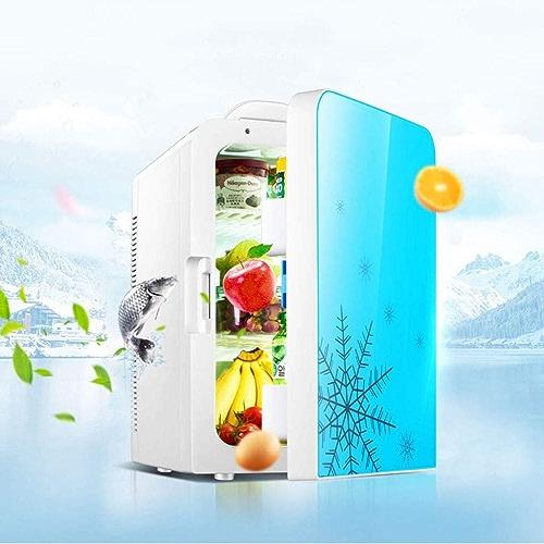 WERT 20L Glacière électrique Portable pour Voiture Bureau Et Camping 12V 220V Double Usage Mini Réfrigérateur Très Silencieux Isotherme Chaud Froid, bleu_Dual Core