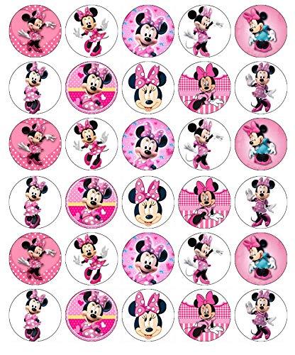 30 obleas comestibles para cupcakes de Minnie Mouse Disney