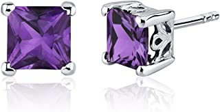 Amethyst Princess Stud Earrings Sterling Silver 2.00 Carats