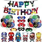 Decoracion Cumpleaños Superheroes Globos de Superhéroe Feliz Cumpleaños del Pancarta Superheroes Adornos,6 Piezas Máscaras de Superhéroe